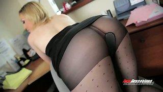 Ripped pantyhose blonde