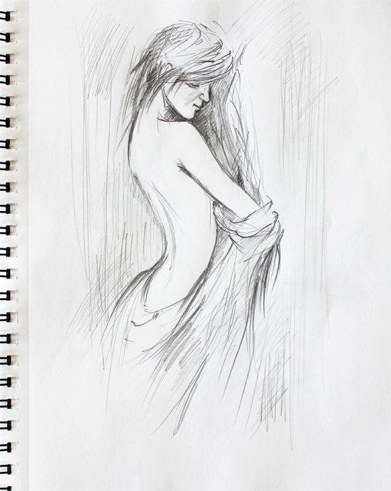 Nude girl pencil drawing sketch