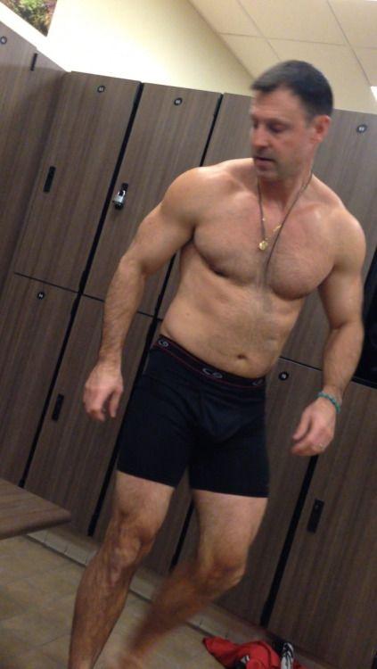 Hairy men locker room