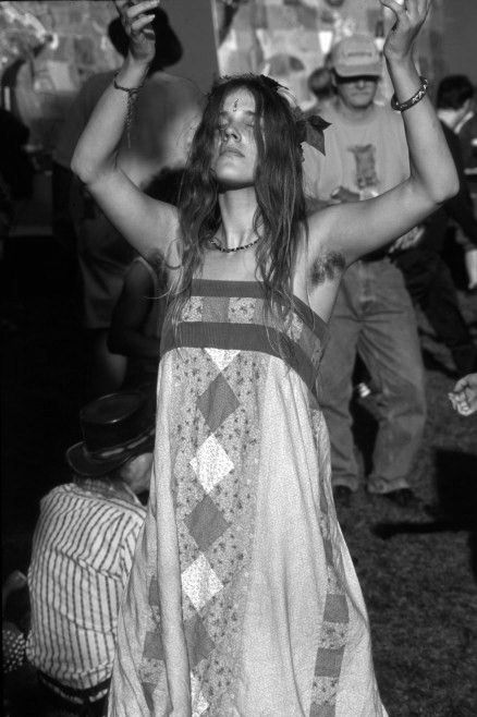 Classic hairy hippie girl from the sixties