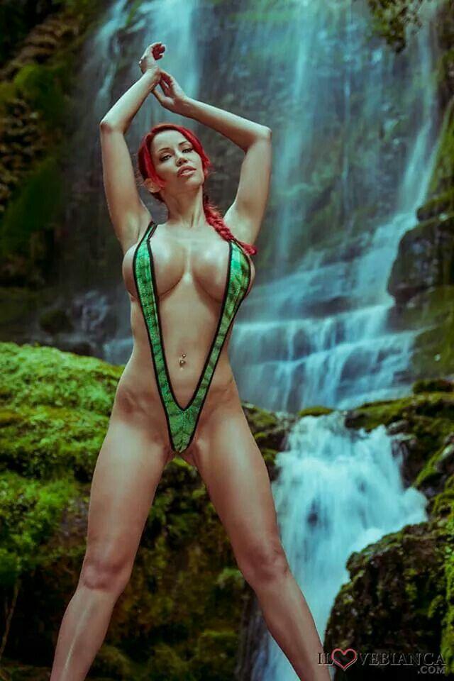 Green slingshot bikini girl