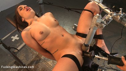 Girl bound and fucked by machine