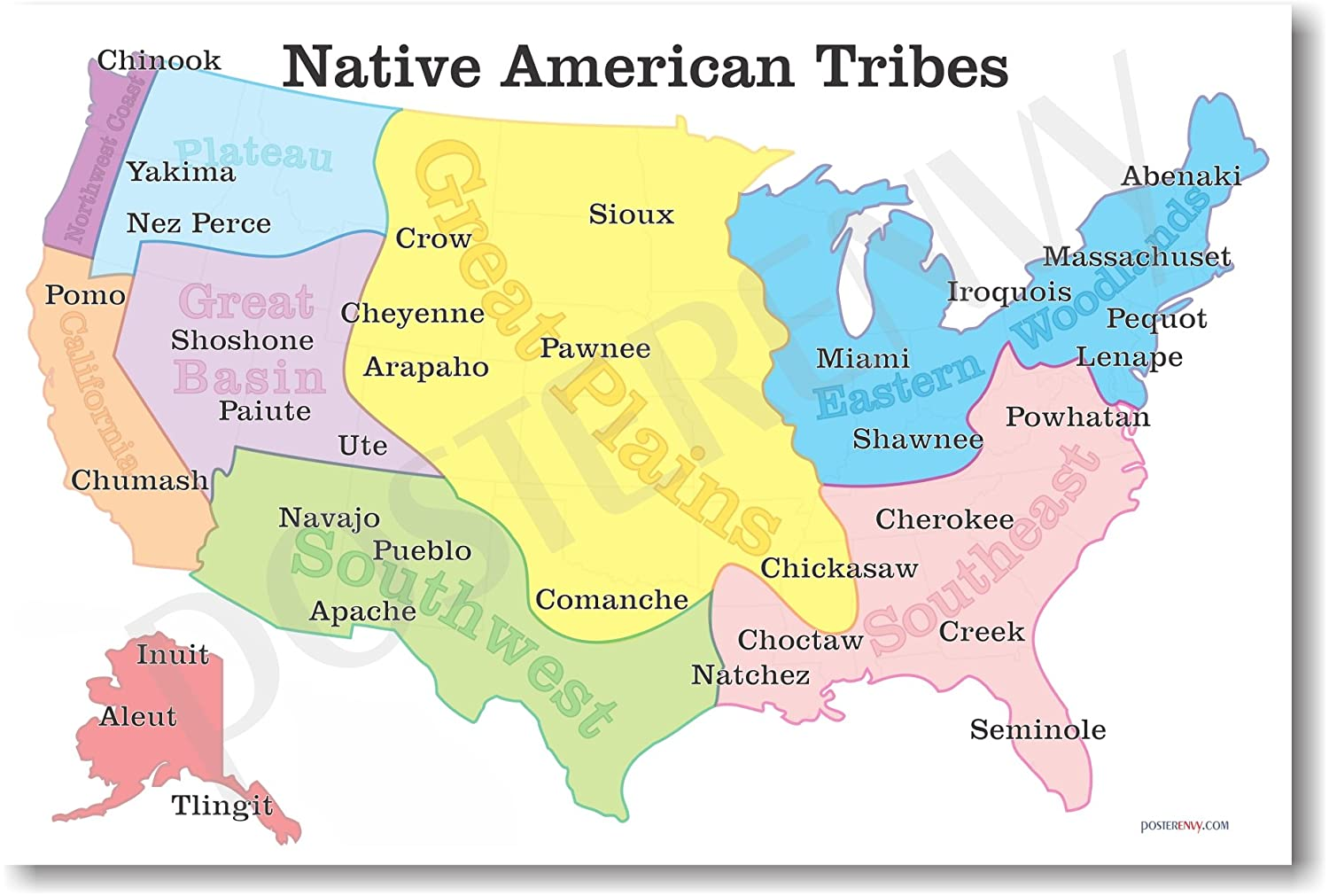 Native american indian tribes map