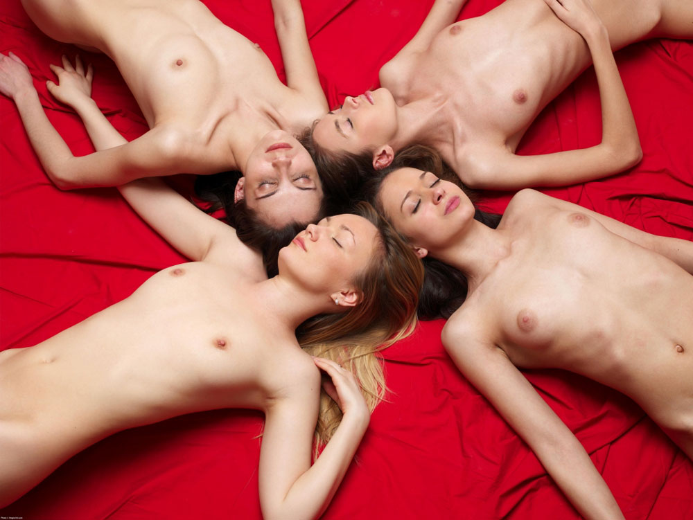 Four girls sleeping naked after party