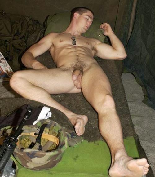 Naked military men