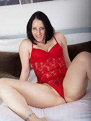Red lingerie spreading pussy