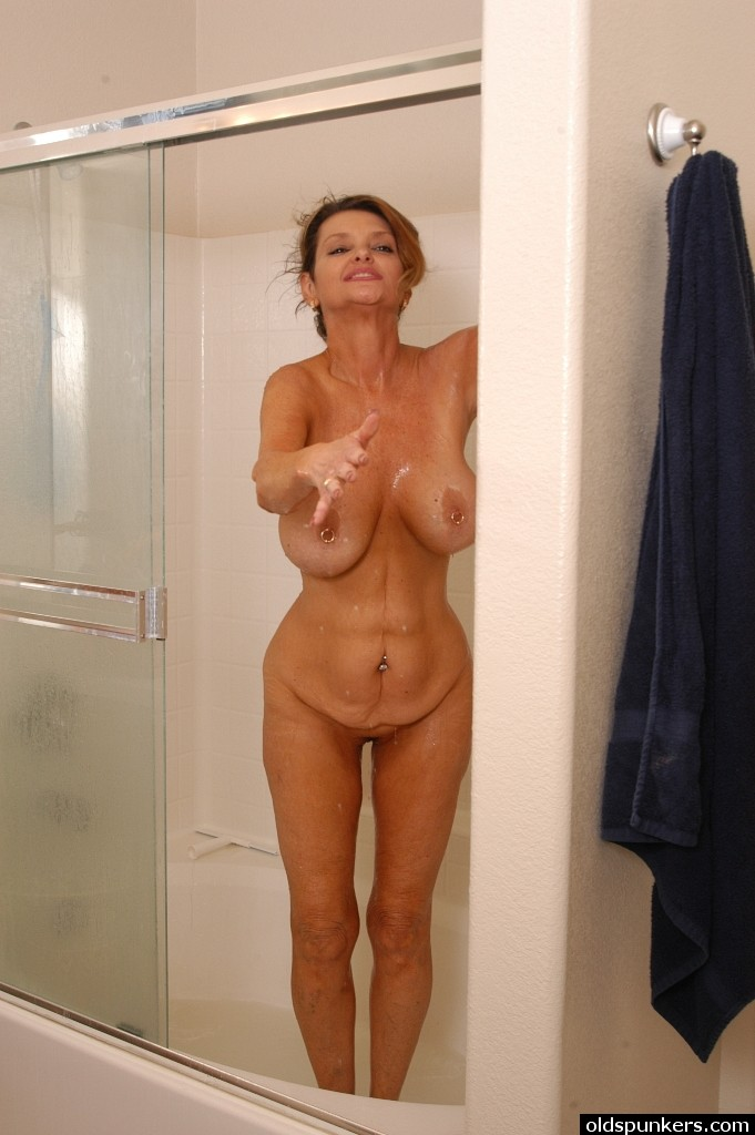 Nude mature woman shower