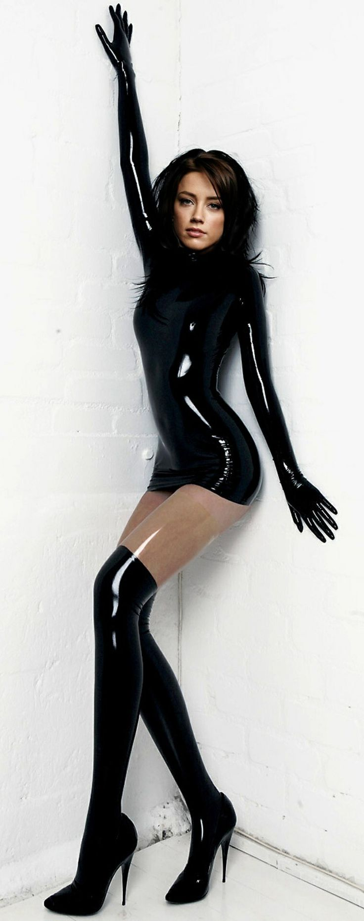 Black liquid latex girl