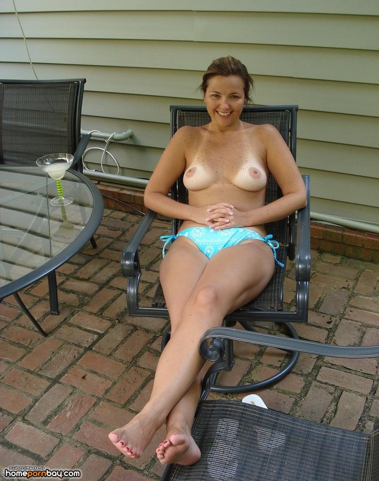 around Wife house topless the