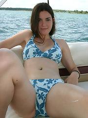 Natural hairy pussy bikini