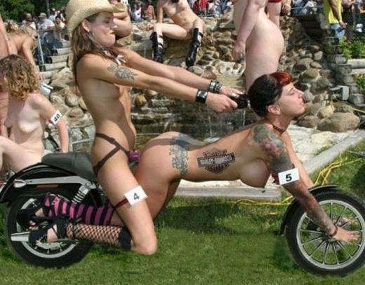 Nude girls on harley motorcycles