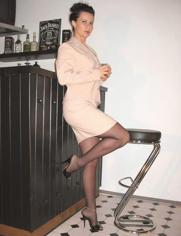 Business women pantyhose high heels