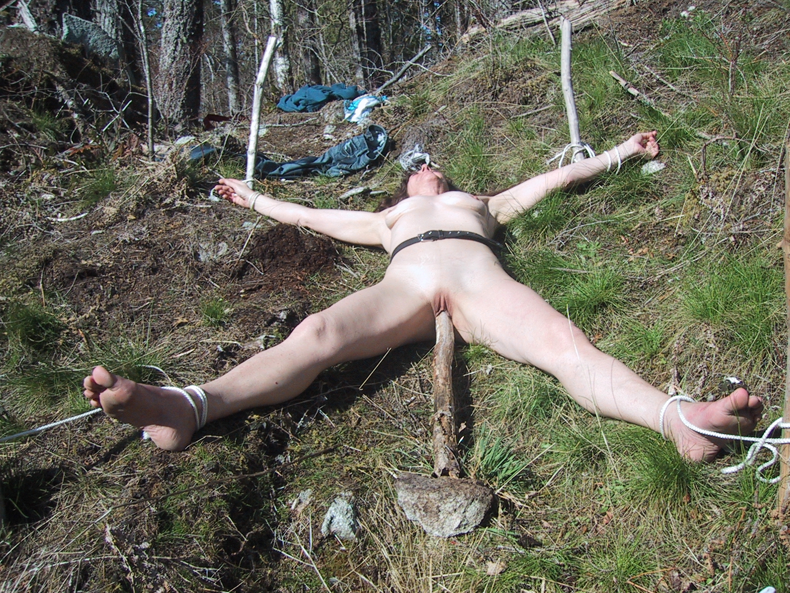 Amateur female outdoor bondage