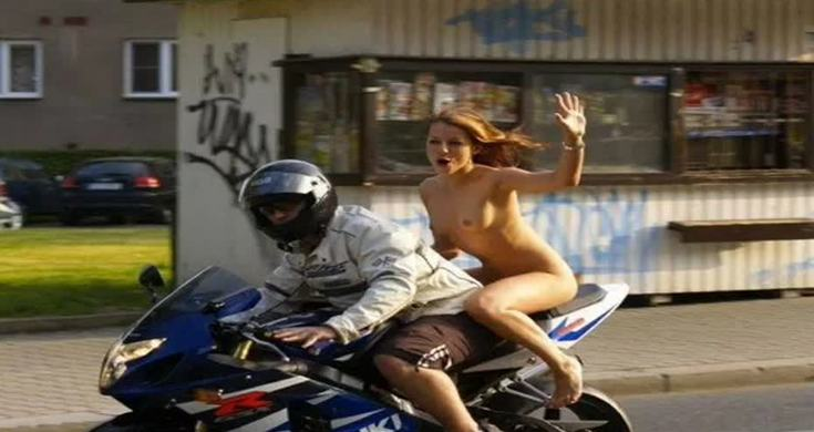 Nude girls riding motorcycles