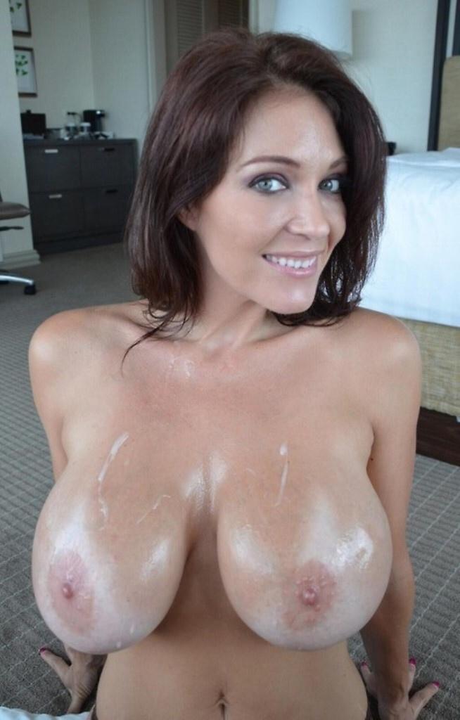 Cum covered tits