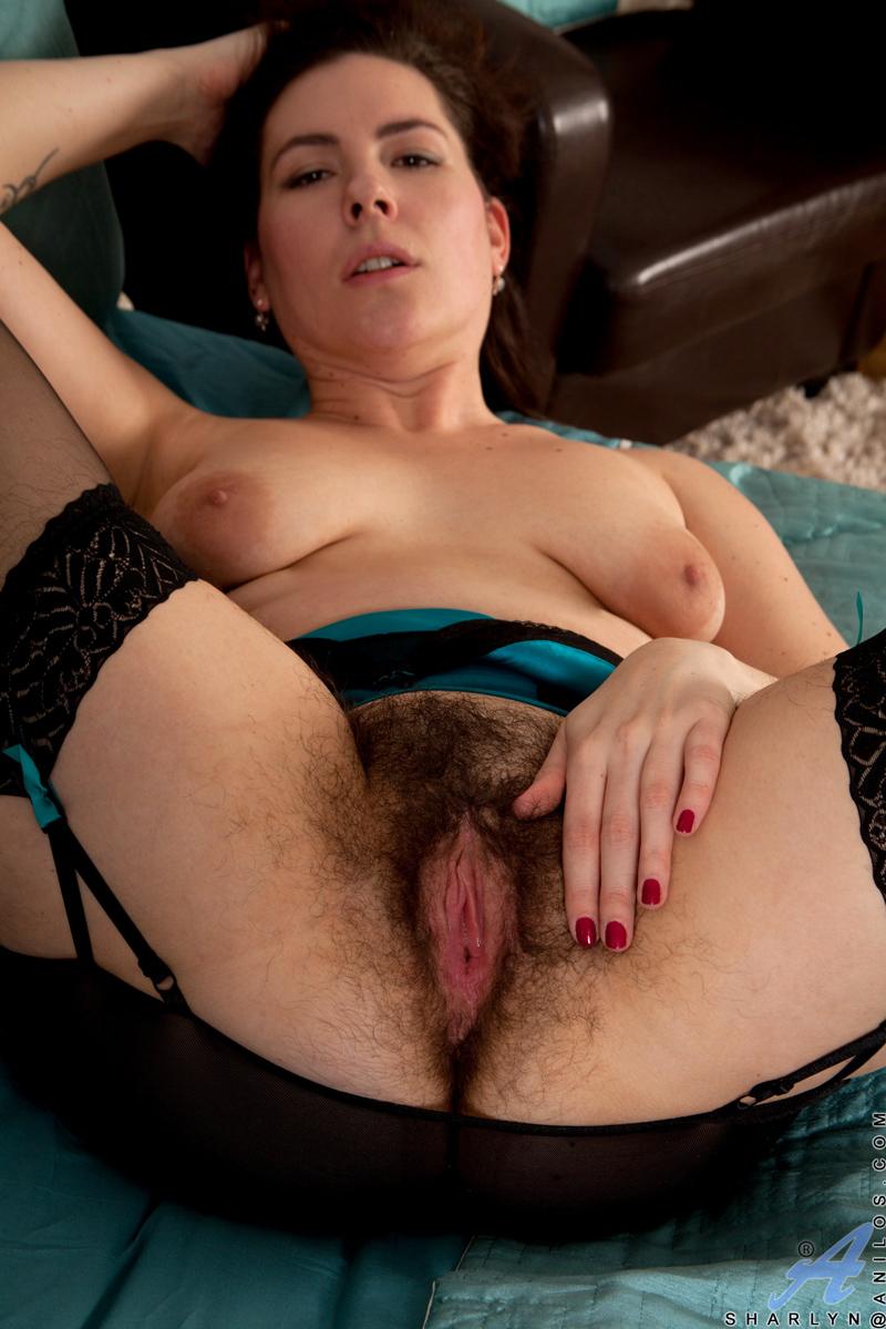 Hairy pussy spread open