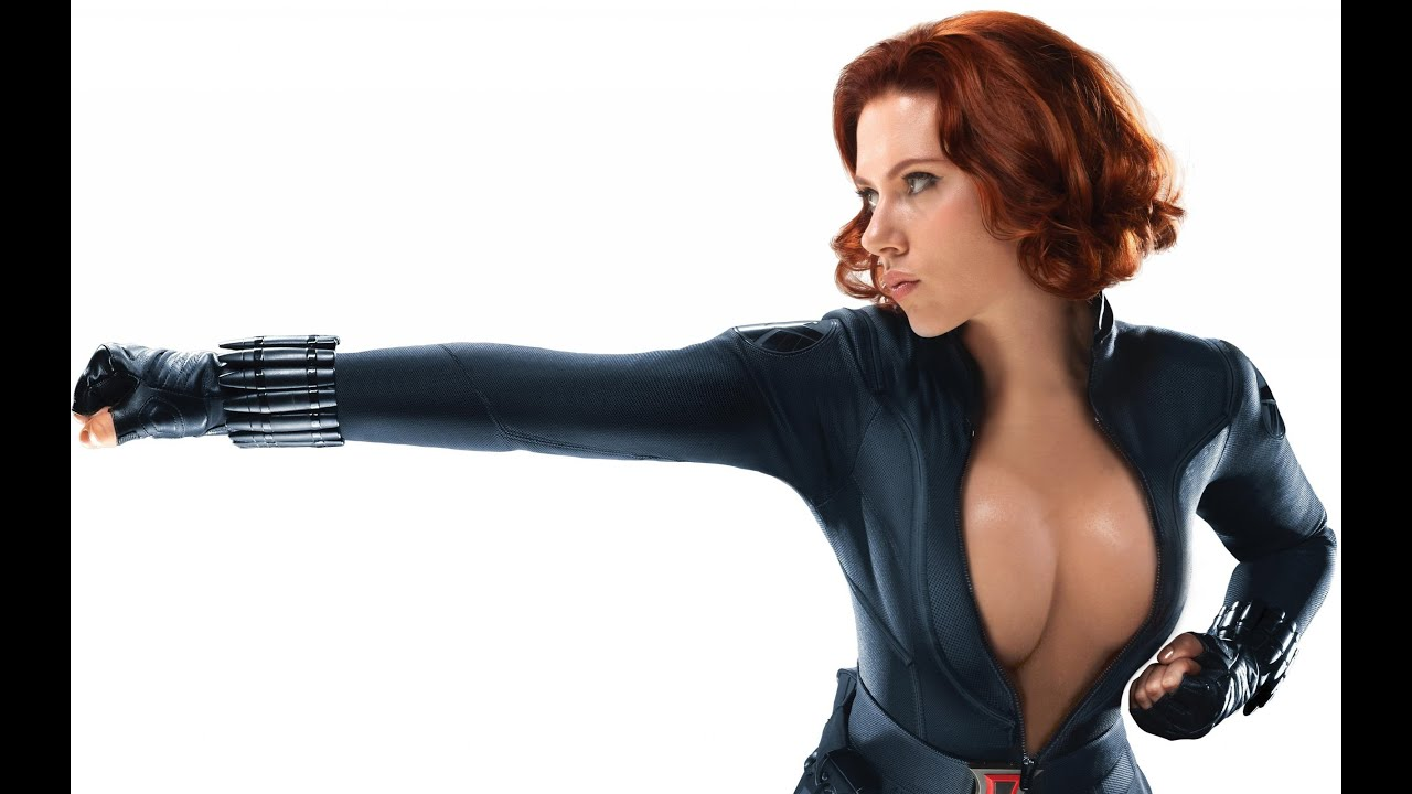 as black naked widow Scarlett johansson