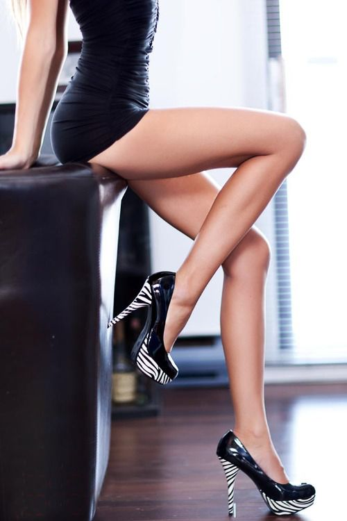 Hot brunette long legs high heels