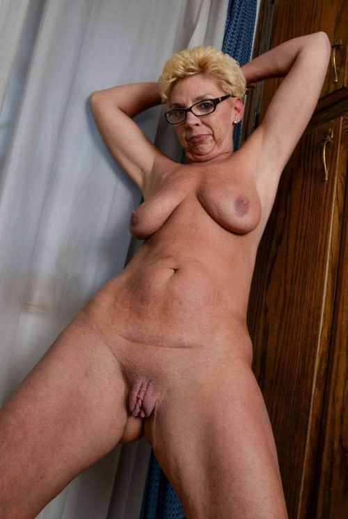 Mature old granny naked at home