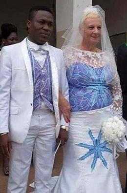 Young man older white woman black