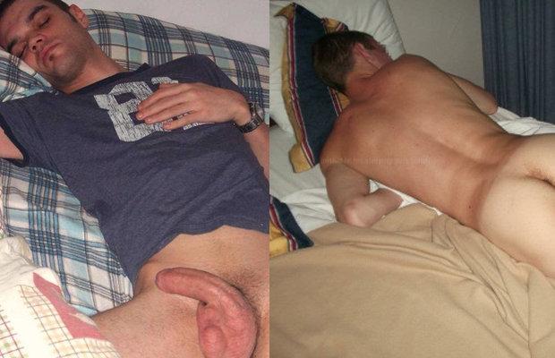 Guys caught sleeping naked