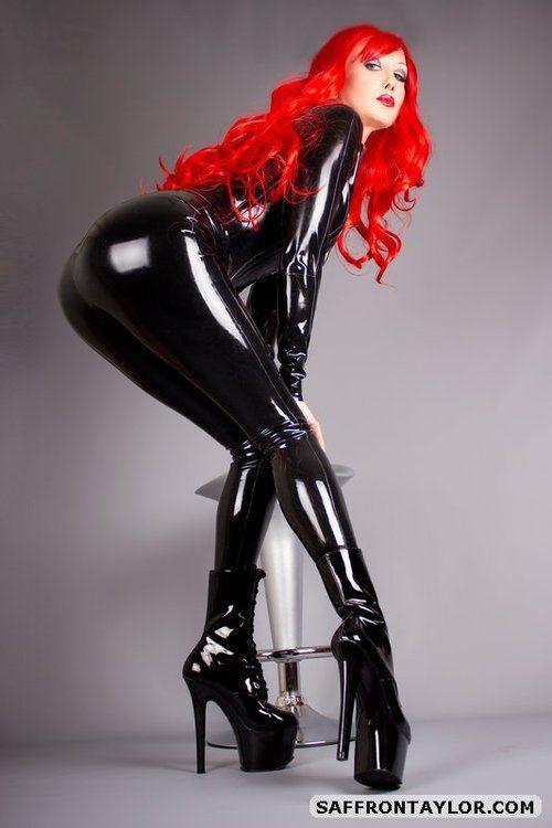 redhead latex Busty milf