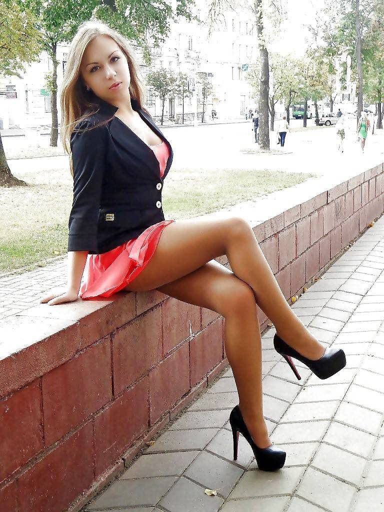Secretary short skirt high heels