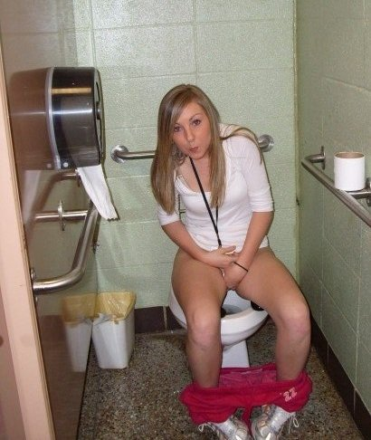 girl on Naked toilet tumblr sitting