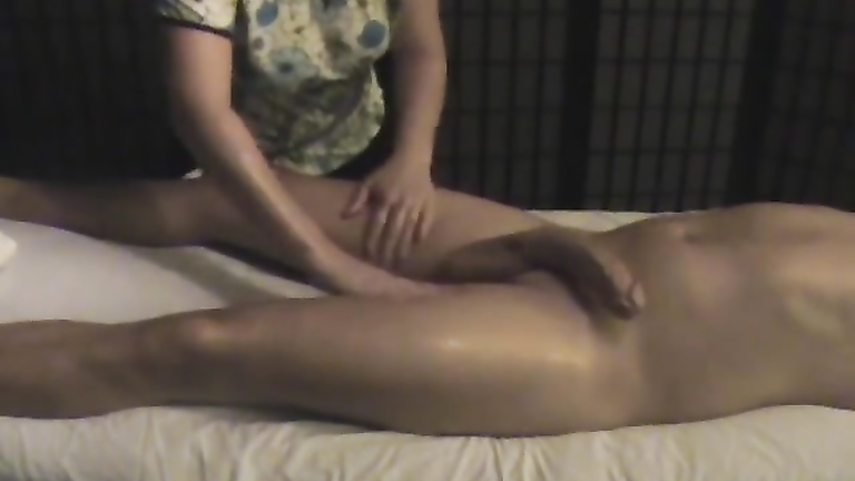 Penis massage with massive cum shot