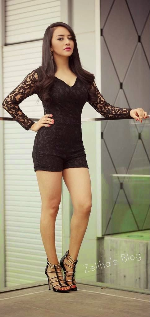 Tight mini skirt and high heels