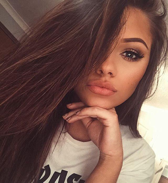 Pretty brunette teen facial