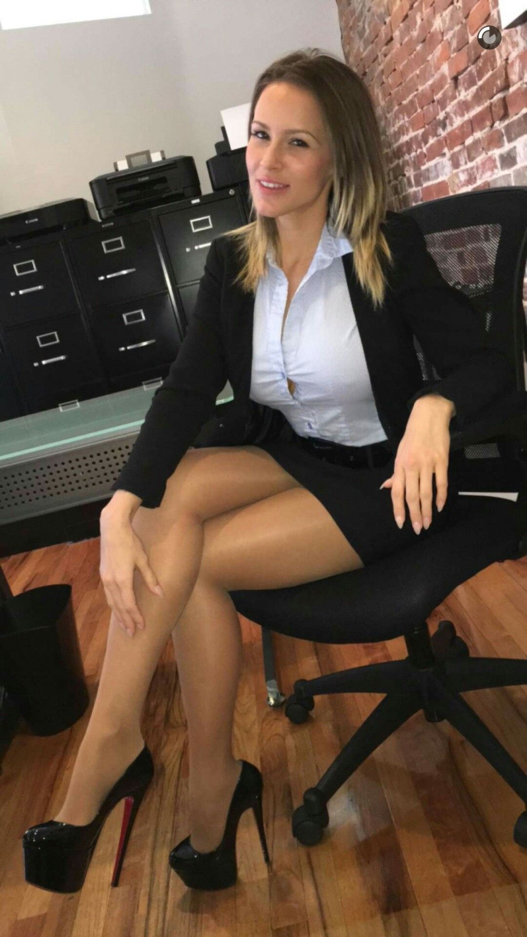 Business women pantyhose high heels