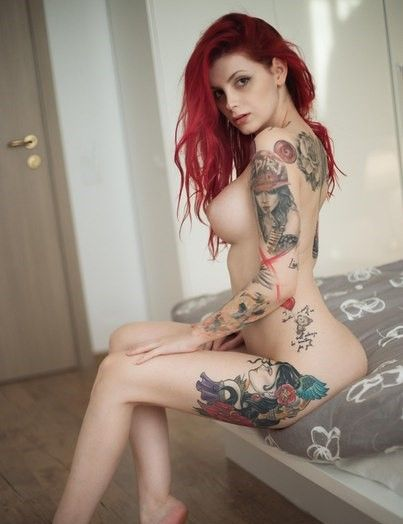 suicide girl tattoo Redhead