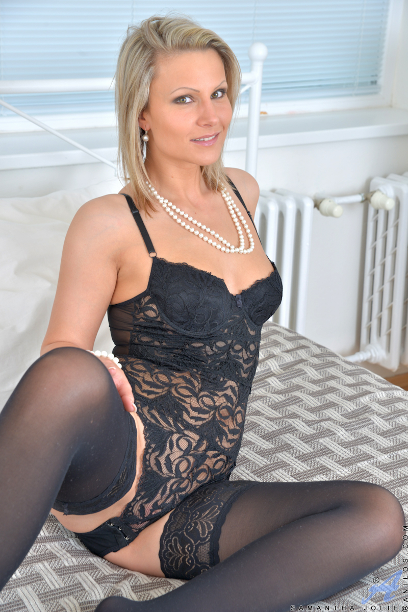 Hot blonde milf in black lingerie