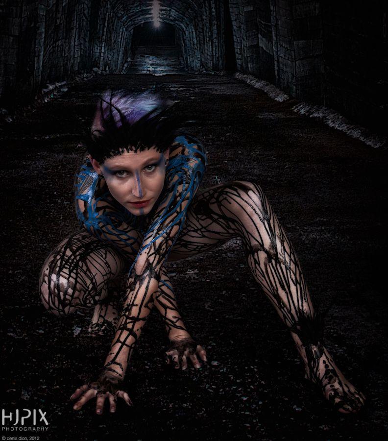 Black liquid latex girl
