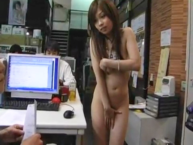 embarrassed Asian naked