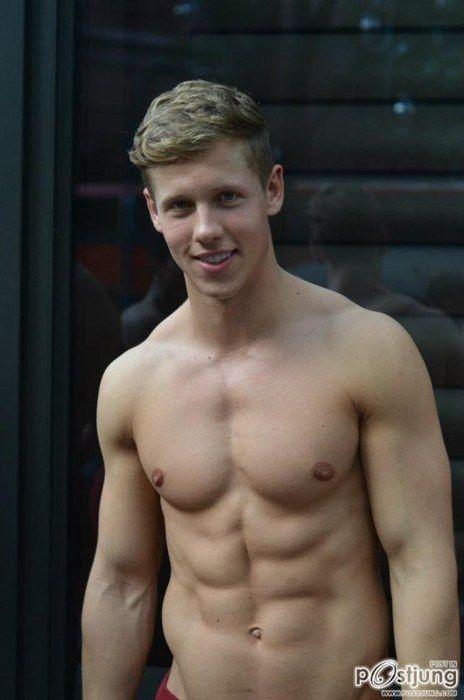 Cute blonde boy naked