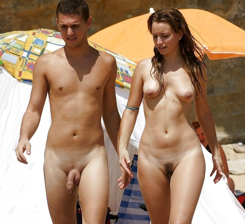 Nude couples on beach