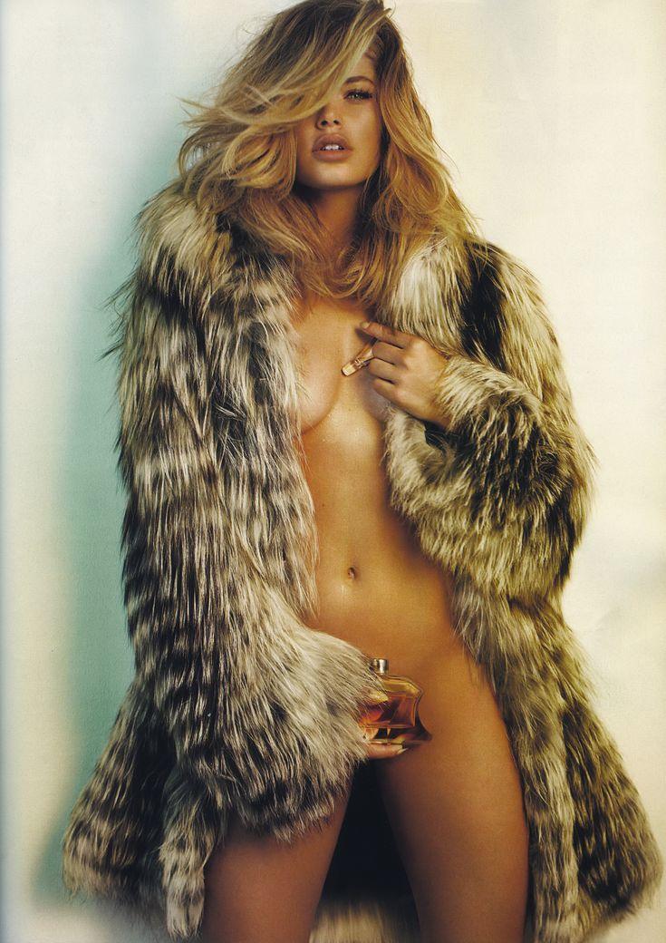 Nude blonde fur coat
