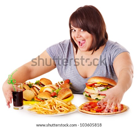 Busty fat girls eating food