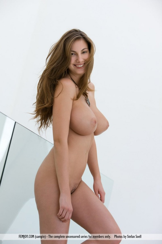 Sexy brunette strips naked
