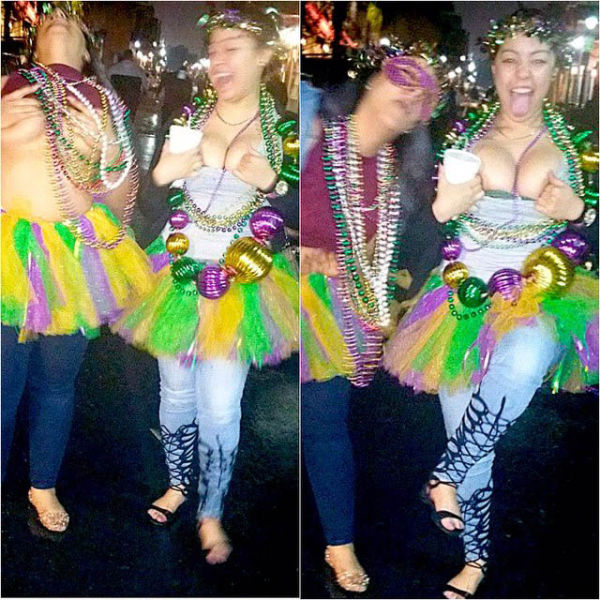 Mardi gras girls flashing