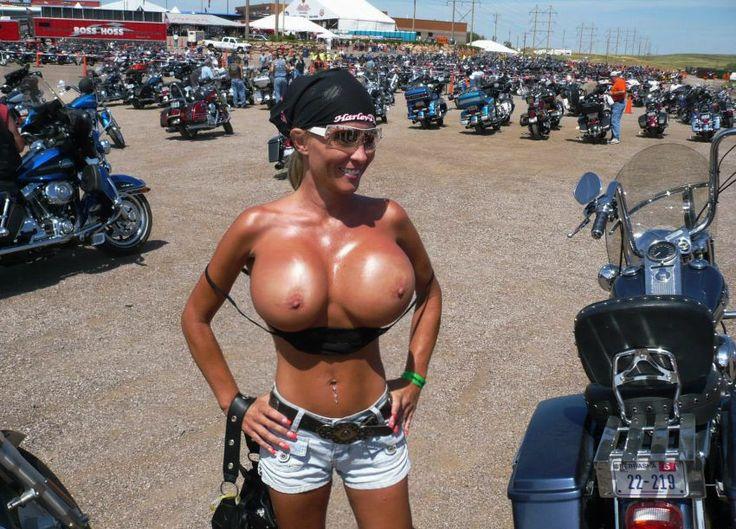 Biker wife topless public milf